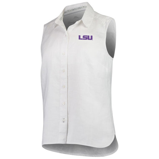 LSU Tigers Tommy Bahama Women's Sea Glass Breezer Sleeveless Linen Shirt – White