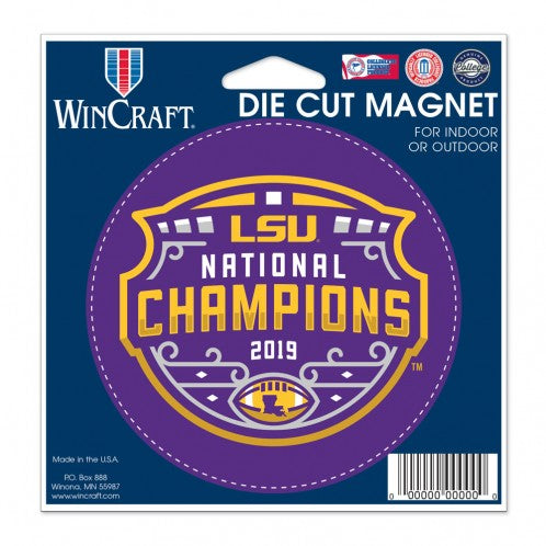 "LSU Tigers 2019 National Champions 4"" x 4"" Round Magnet"