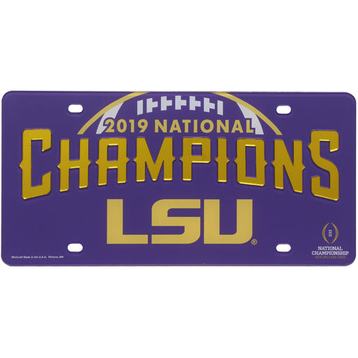LSU Tigers 2019 National Champions Laser-Cut License Plate