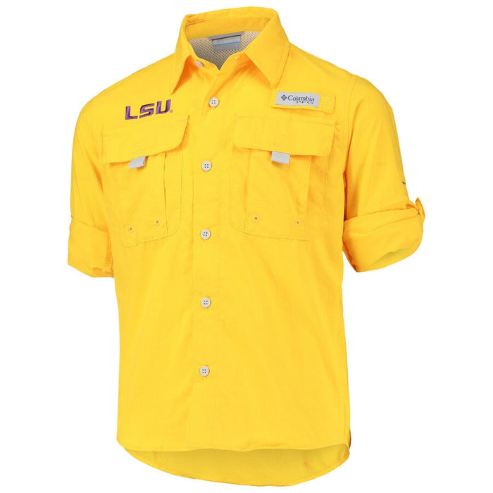LSU Tigers Columbia Sportswear Bahama Fishing PFG Youth Long Sleeve Shirt - Gold