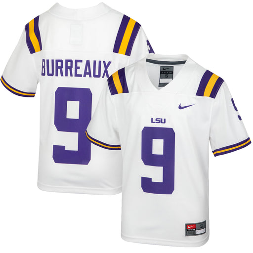 LSU Tigers Nike #9 Joe Burrow Youth Replica Football Jersey – White (Burreaux)