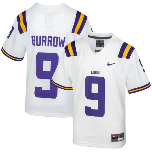 LSU Tigers Nike #9 Joe Burrow Youth Replica Football Jersey – White (Burrow)