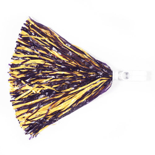 Two Color Purple & Gold Ring Tab Handle Pom Pom