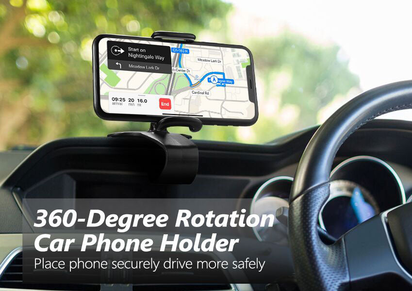 360-Degree-Rotating-Dashboard-Clip-Phone-Mount-in-usage-above-steering-wheel
