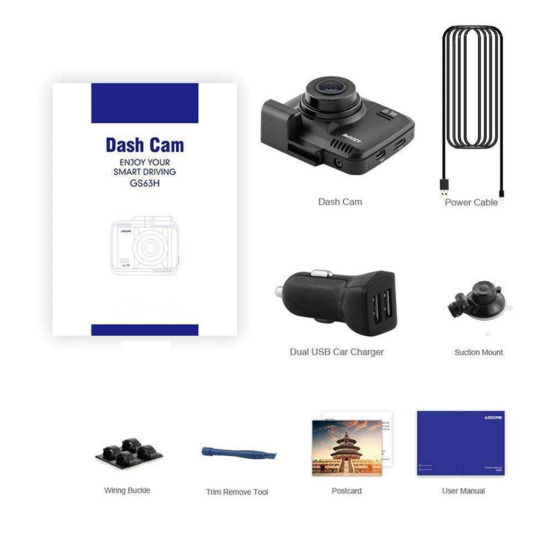 4K Dash Cam with GPS package contents