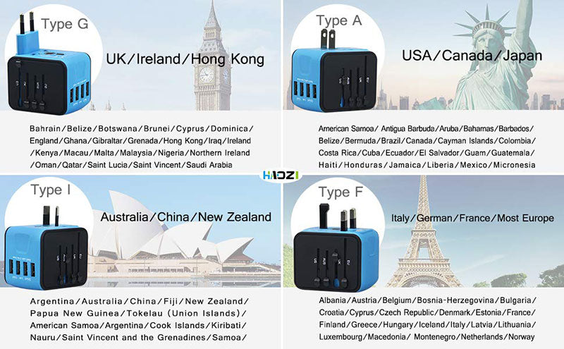 4 USB Worldwide Travel Adapter Converter works in 150 plus countries
