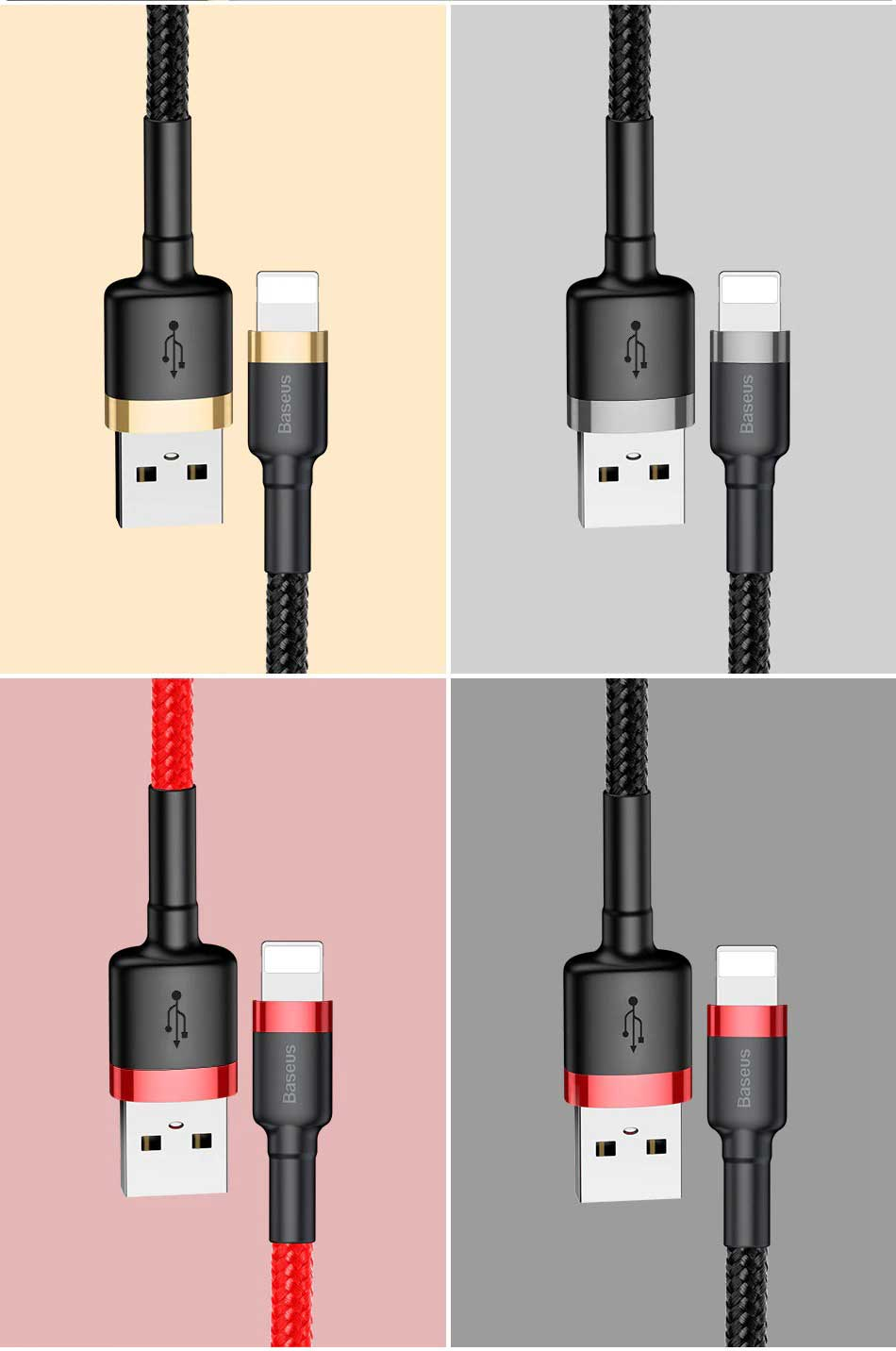 4 colors - Wear-Resistant Lightening Cable for Iphone - 2.4A Quick Charge