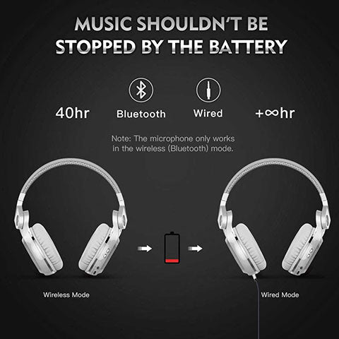 Bluetooth Over Ear Headphones With Mic dual bluetooth and wired mode in case batter runs out