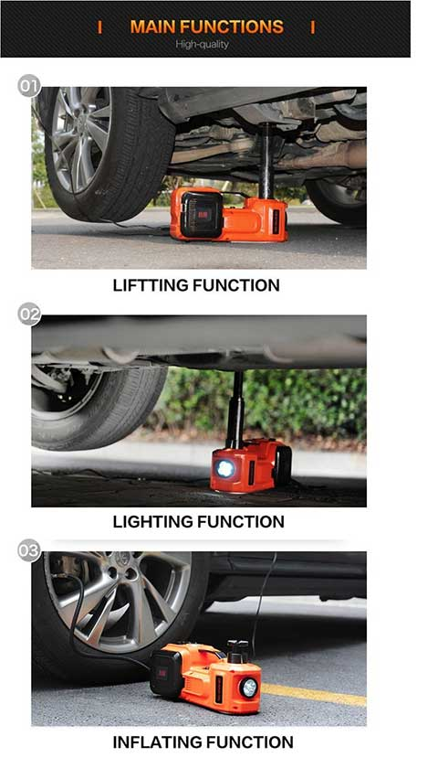 Electric Hydraulic Car Jack and Tire Inflator Pump 3 in 1 function