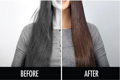 Hair Straightening Ionic Brush before and after