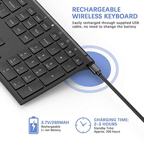 Rechargeable Wireless Keyboard and Mouse Combo rechargeable  batter