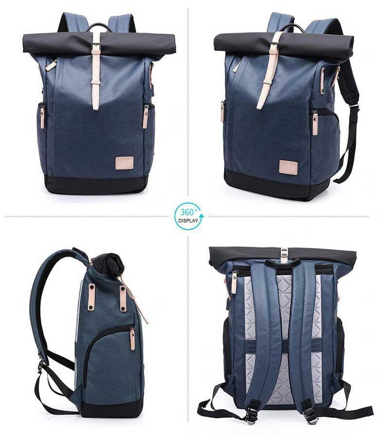 360 view of blue Water Resistant Roll Top Backpack With USB Port
