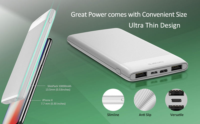 Slim Power Bank Battery Pack 10000mAh features