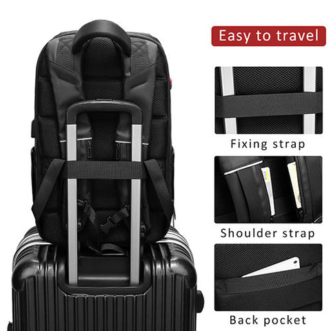 using the Travel Laptop Backpack For Men luggage strap to attach to luggage handle