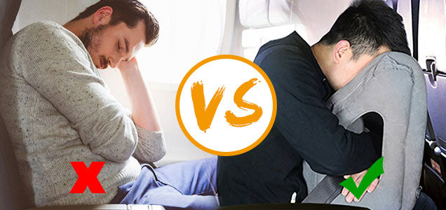 before-and-after-using the-Face-Cradle-Inflatable-Travel-Pillow