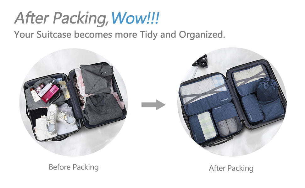 before and after 7 Piece Luggage Packing Cubes