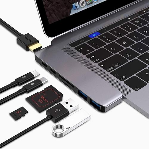 7-in-1 Macbook Pro USB C Hub-Laptop Accessories-Nifty Drifter-Silver