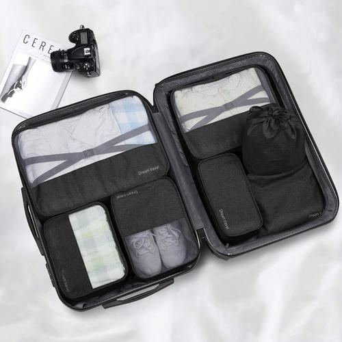 7 Piece Luggage Packing Cubes-Packing Cubes-Nifty Drifter-Black