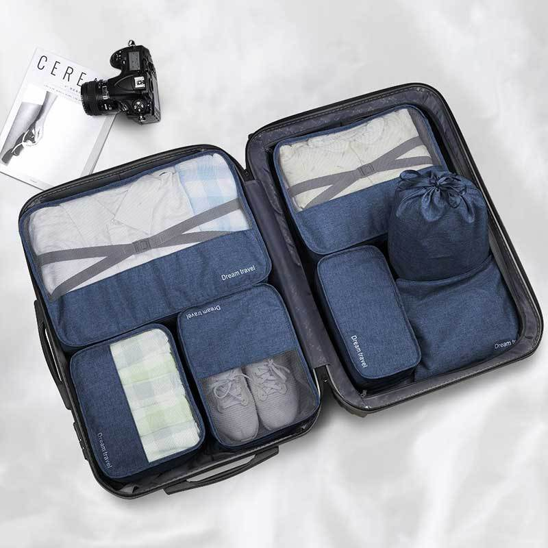 7 Piece Luggage Packing Cubes-Packing Cubes-Nifty Drifter-Blue