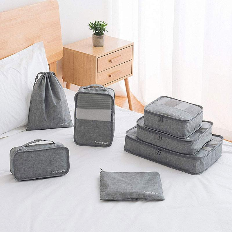 7 Piece Luggage Packing Cubes-Packing Cubes-Nifty Drifter-Gray