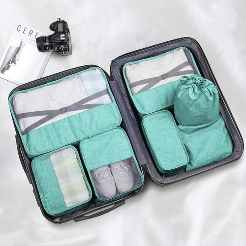 7 Piece Luggage Packing Cubes-Packing Cubes-Nifty Drifter-Teal