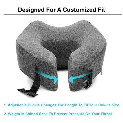 Bamboo Fiber Memory Foam Neck Pillow-Neck Pillow-Nifty Drifter-Gray