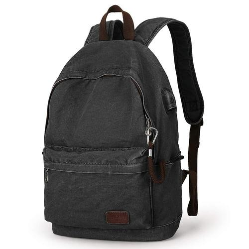 Canvas Laptop Backpack-Backpacks-Nifty Drifter-Black