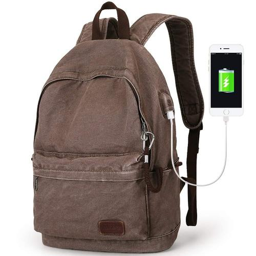 Canvas Laptop Backpack-Backpacks-Nifty Drifter-Coffee