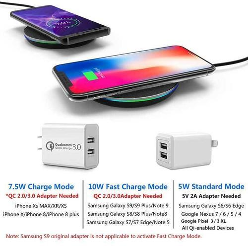 Fast Wireless Charging Pad has 3 charging modes of 5W 7.5W and 10W max