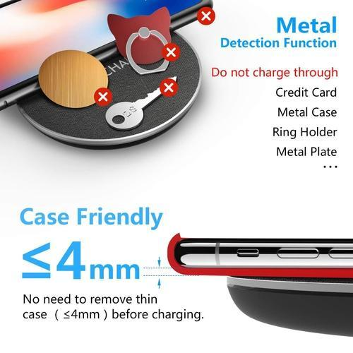 Fast Wireless Charging Pad works best with phone cases with a thickness of 4mm or less