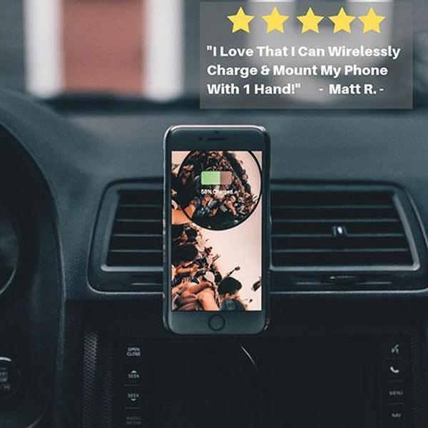 Phone Mounted onto the Optimount Magnetic Wireless Car Charger with customer review text