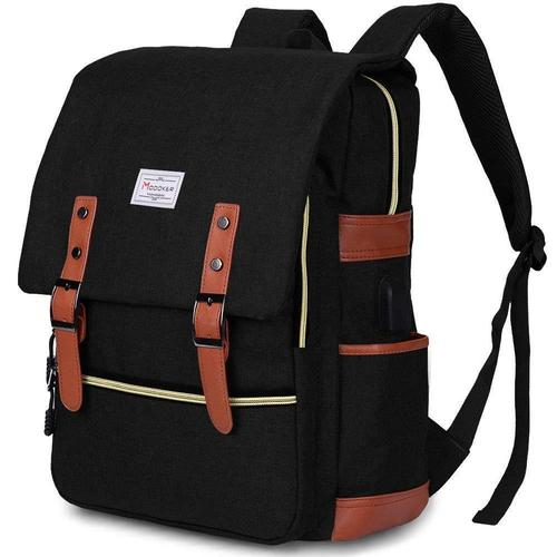 Vintage Laptop Backpack With USB Charging Port-Backpack-Nifty Drifter-Black