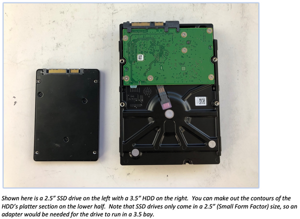 """Shown here is a 2.5"""" SSD drive on the left with a 3.5"""" HDD on the right.  You can make out the contours of the HDD's platter section on the lower half.  Note that SSD drives only come in a 2.5"""" (Small Form Factor) size, so an adapter would be needed for the drive to run in a 3.5 bay."""