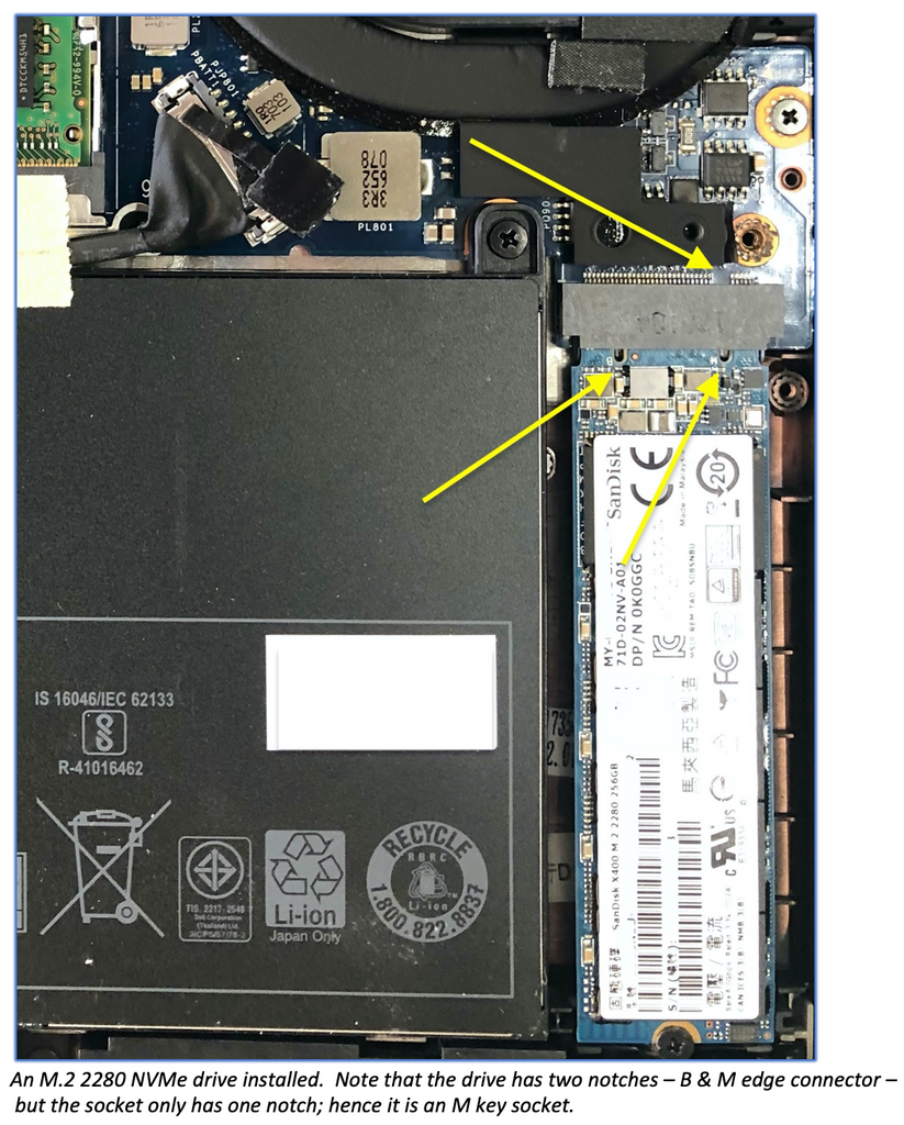 An M.2 2280 NVMe drive installed.  Note that the drive has two notches – B & M edge connector –  but the socket only has one notch; hence it is an M key socket.