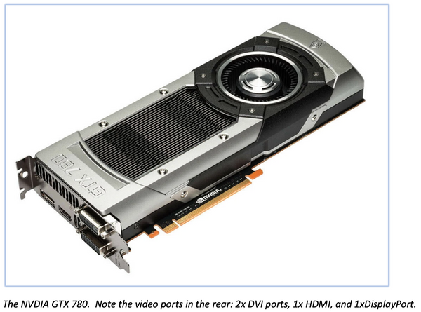 The NVDIA GTX 780.  Note the video ports in the rear: 2x DVI ports, 1x HDMI, and 1xDisplayPort.