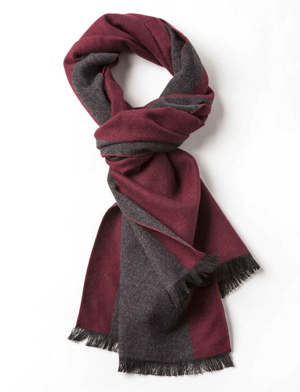 Men's Reversible Scarf Wine & Grey