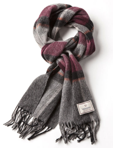 Men's Tassel Scarf Wine & Grey