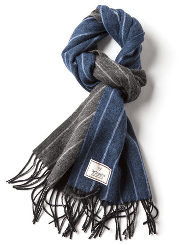 Men's Tassel Scarf Blue & Grey