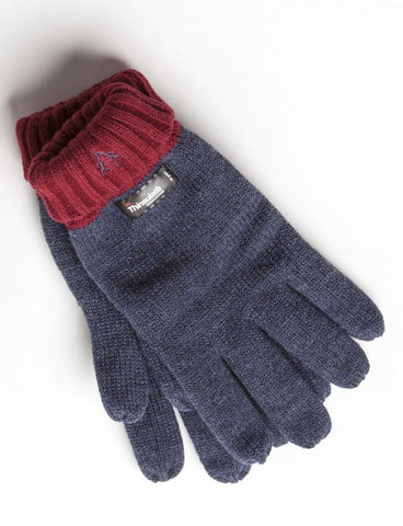 Men's Thinsulate Gloves Denim & Red