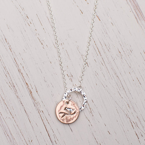 Rose Gold Bird Disc Necklace