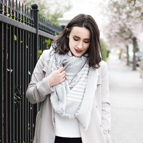 Blanket Scarf Grey Stripe