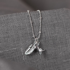Bird & Feather Charm Silver Necklace