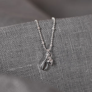 Wishbone and Heart Charm Necklace