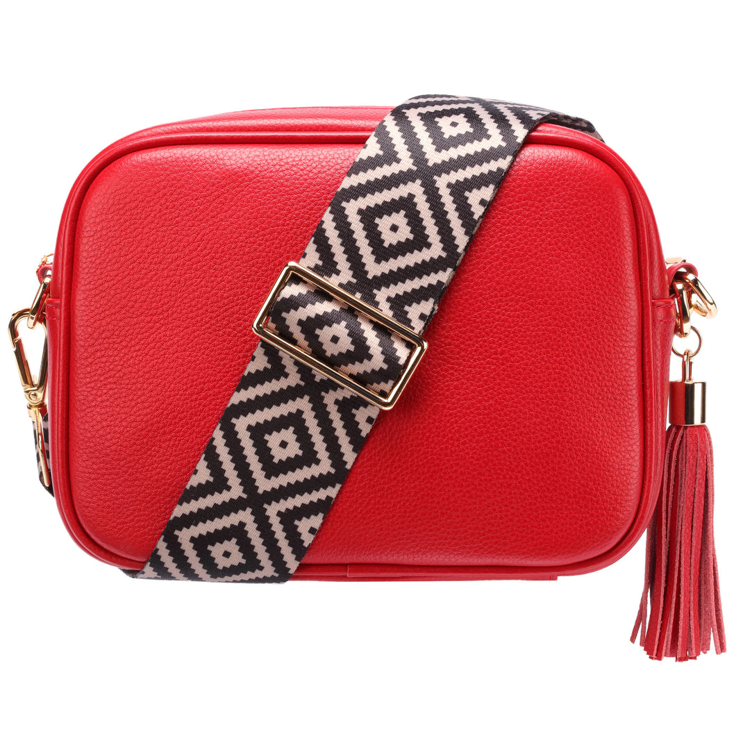 Elie Red Leather Cross Body Bag