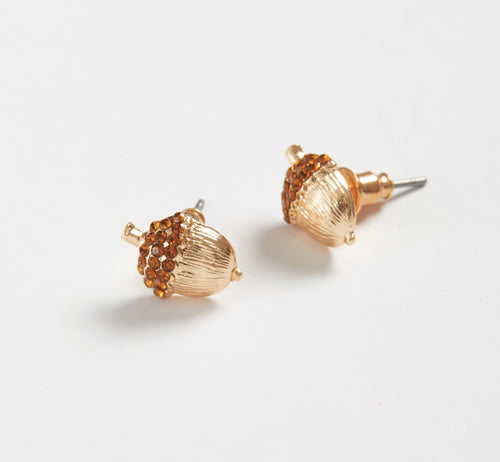 Gold Acorn Stud Earrings