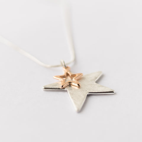 Brushed Silver and Rose Gold Star Short Necklace