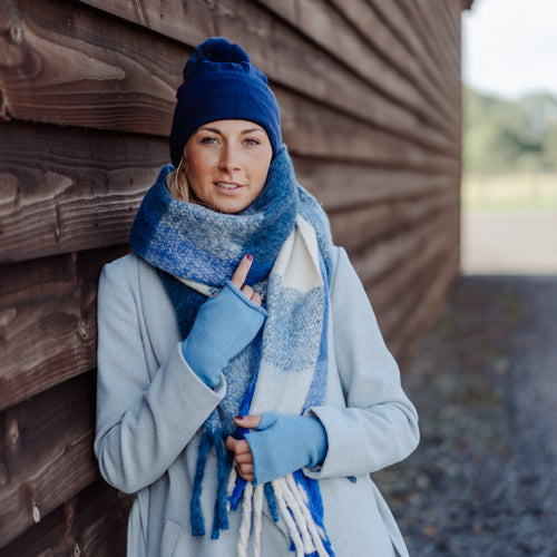 Oversized Winter Fluffy Blue and White  Scarf