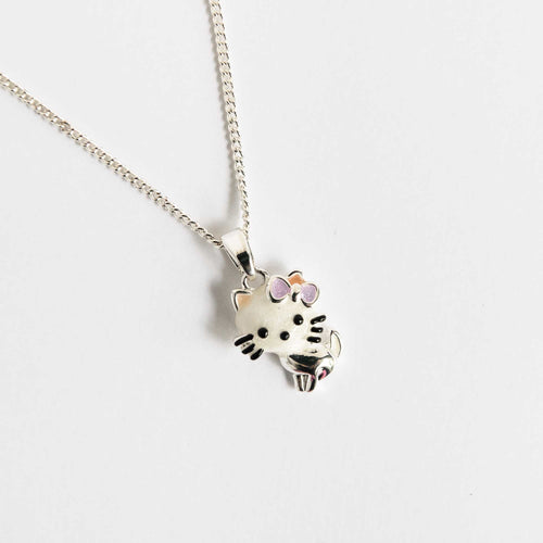 Girls Cute Kitty White Necklace