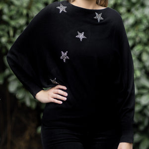 Sparkle Star Jumper Black