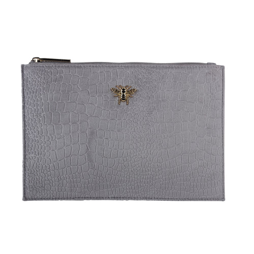 Grey Velvet Clutch, Cosmetic & Phone Bag